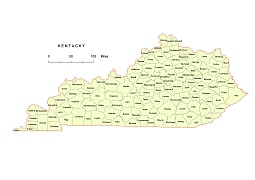 255x180 Preview Of Kentucky Vector County Map.