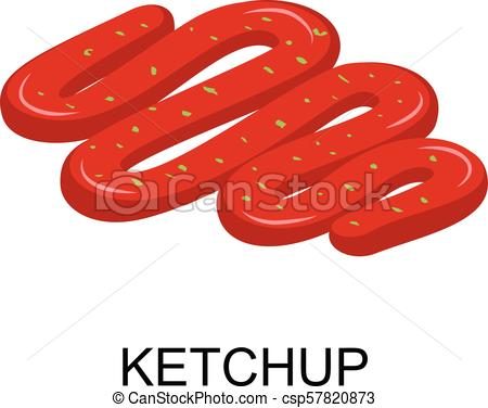 450x376 Ketchup Icon, Isometric Style. Ketchup Icon. Isometric Of Ketchup