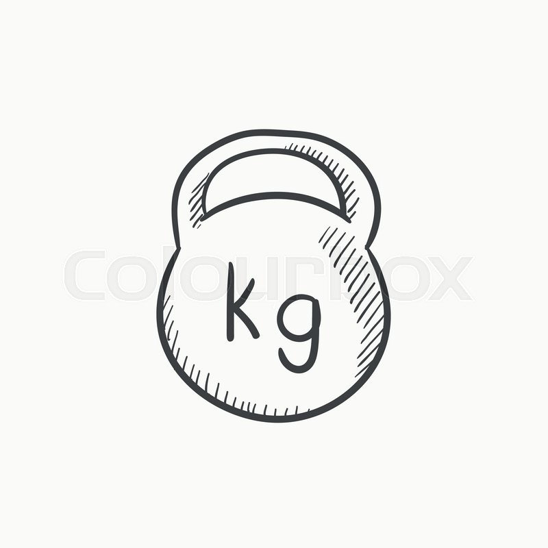 800x800 Kettlebell Vector Sketch Icon Isolated On Background. Hand Drawn
