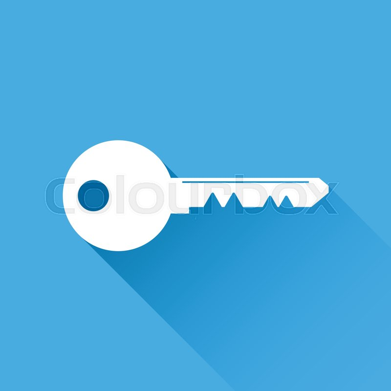 800x800 Key Icon Vector Illustration In Flat Style Isolated On Blue