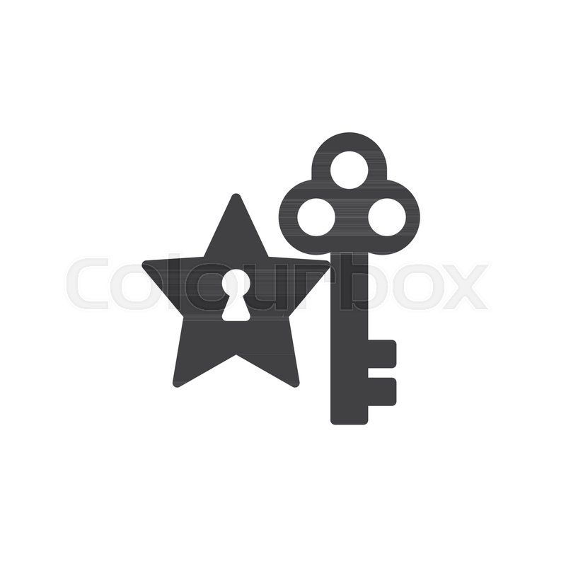 800x800 Star And Key Icon Vector, Filled Flat Sign, Solid Pictogram