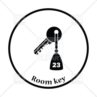 400x400 Thin Circle Design Of Hotel Room Key Icon Vector Image Vector