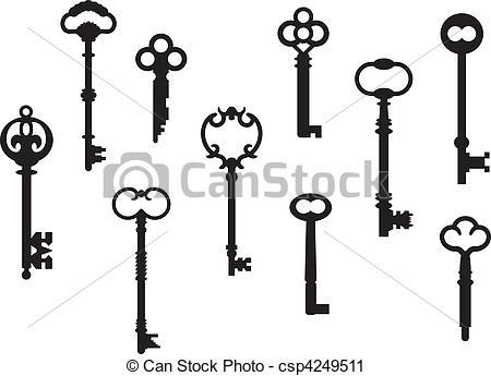 450x345 Ten Skeleton Keys. Ten Skeleton Key Silhouettes From Real Antique