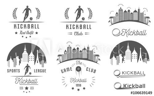 500x313 Set Of Kickball Logo, Badges And Emblems