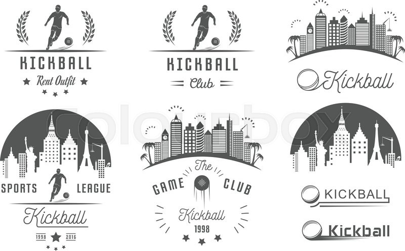800x497 Set Of Vintage Kickball Labels, Logo, Sign, Badges, Icons And