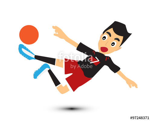 500x400 Cartoon Man Play Soccer Vector. Kick Ball Stock Image And Royalty