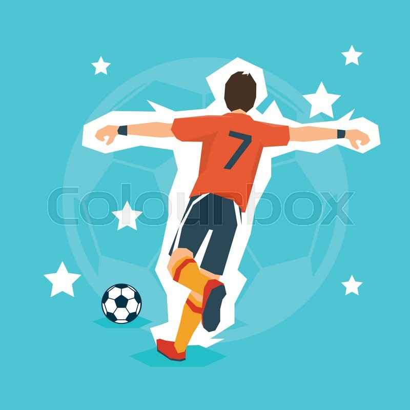 800x800 Football Player Kick Ball Sport Championship Flat Vector