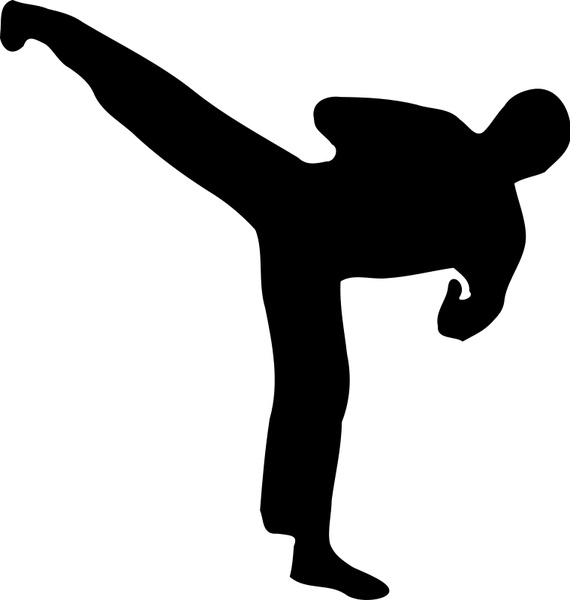 570x600 Kickboxer Silhouette Free Vector In Open Office Drawing Svg ( .svg