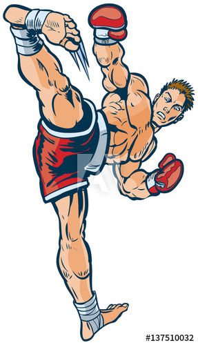 287x500 Kickboxing Man Executing High Side Kick Vector Illustration