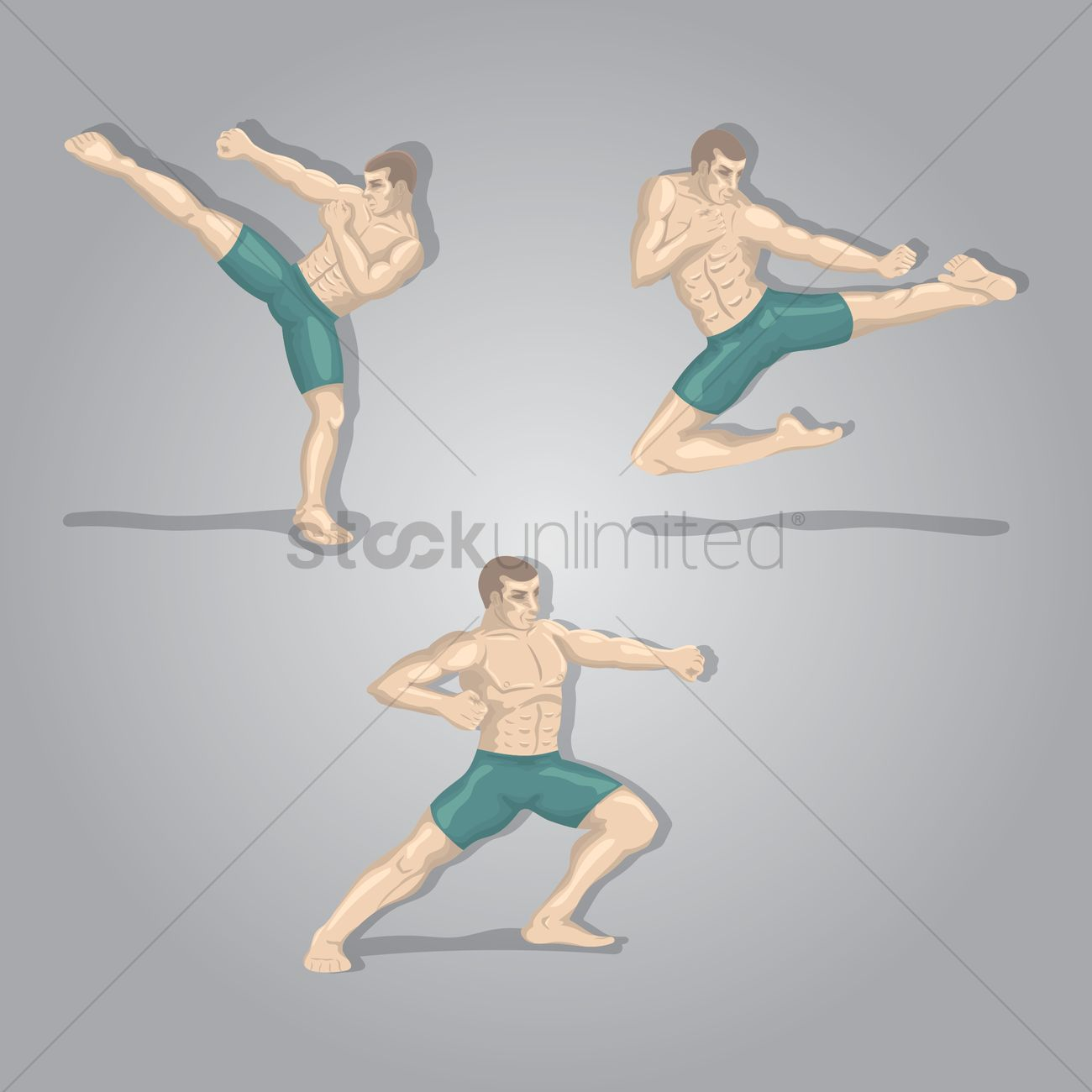 1300x1300 Kickboxing Player In Poses Vector Image