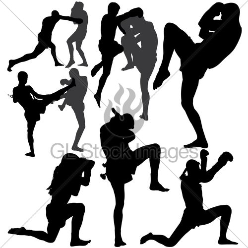 500x500 Muay Thai Or Kickboxing Vector Silhouettes Gl Stock Images