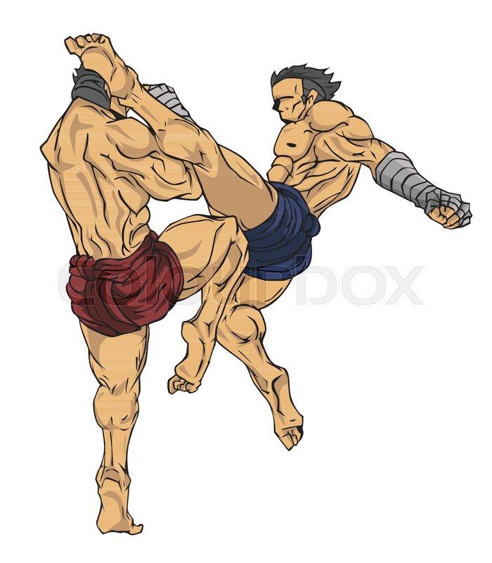 700x800 Muay Thai Or Thai Kickboxing. Martial Art Vector And Illustration