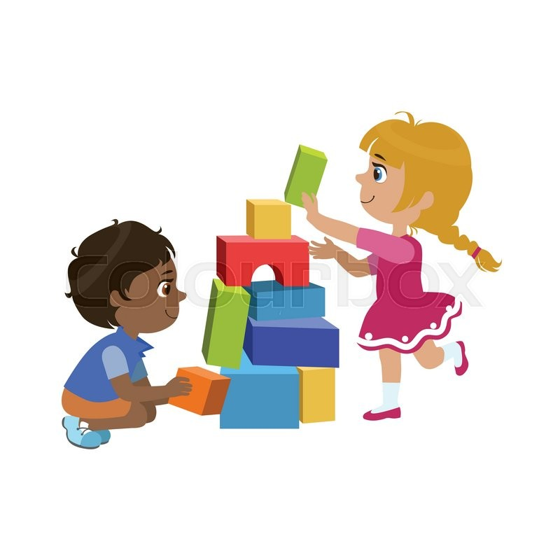 800x800 Kids Playing Bricks Colorful Simple Design Vector Drawing Isolated