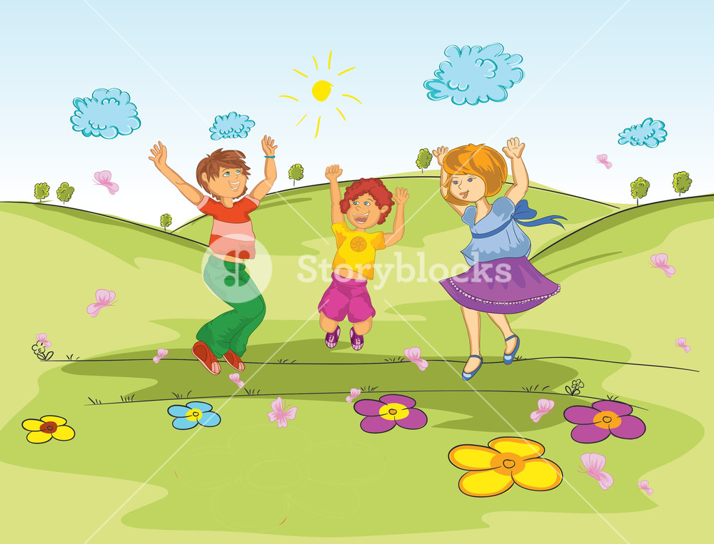 1000x763 Kids Playing In The Park Vector Illustration Royalty Free Stock