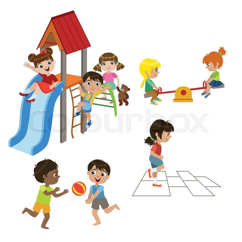 800x800 Kids Playing Outdoors Set Of Colorful Simple Design Vector