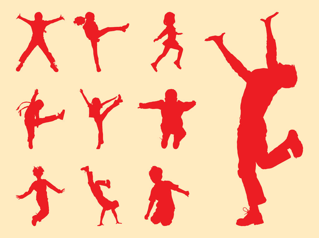 1024x765 Playing Kids Silhouettes Set Vector Art Amp Graphics