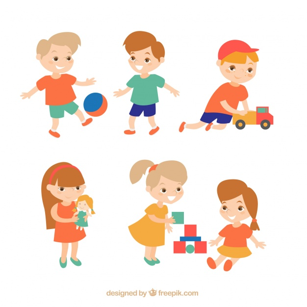 626x626 Set Of Happy Kids Playing Vector Free Download