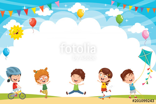 500x333 Vector Illustration Of Kids Playing Outside Stock Image And