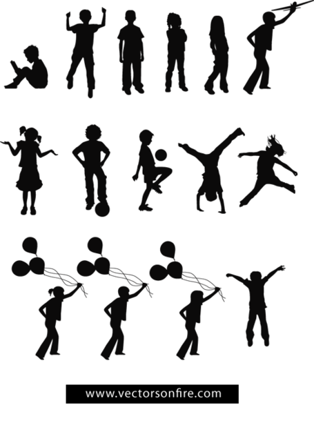 455x613 Free Playing Children Silhouettes (15 Vectors) Clipart And Vector