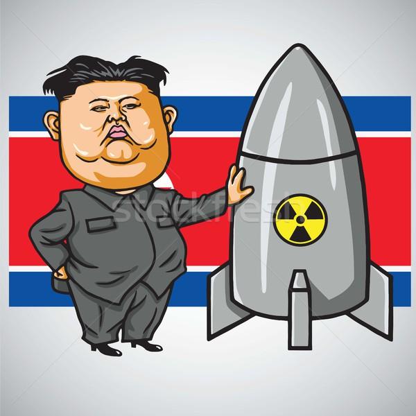600x600 Kim Jong Un With Nuclear Missile On North Korea Flag. Cartoon