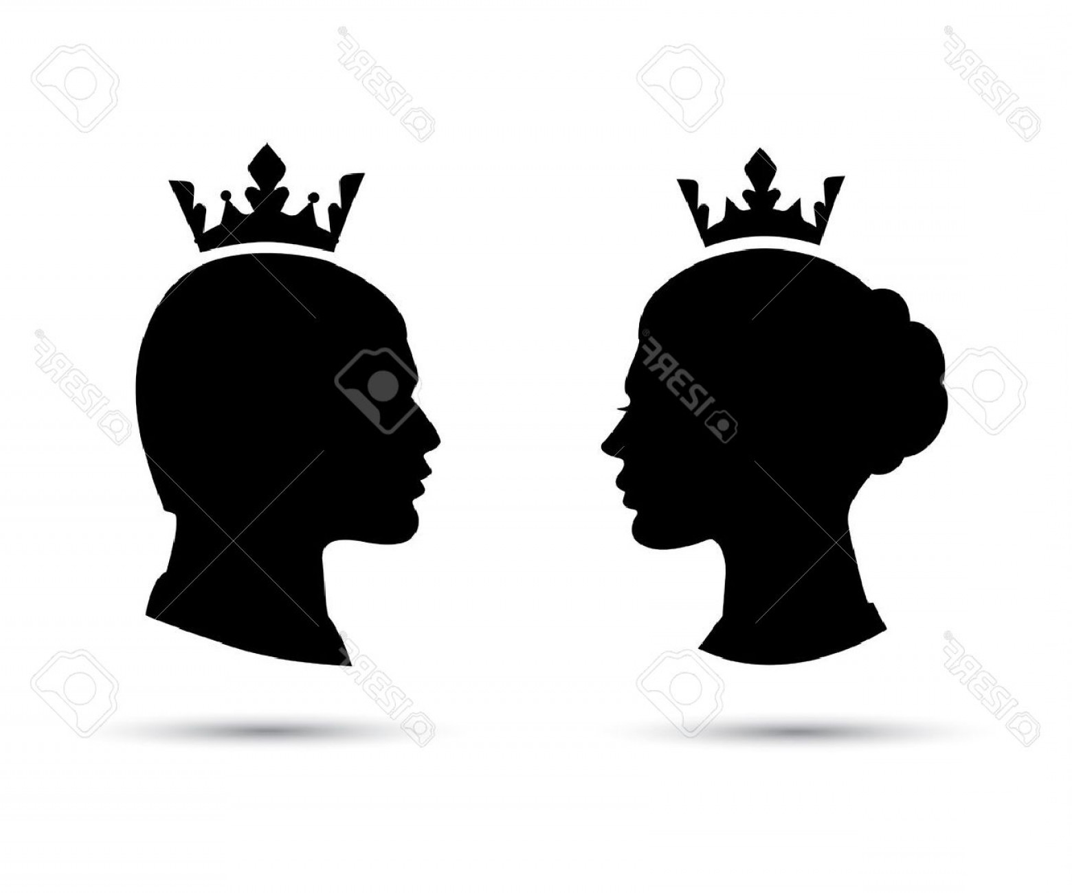 1560x1299 Photostock Vector King And Queen Heads King And Queen Face Black