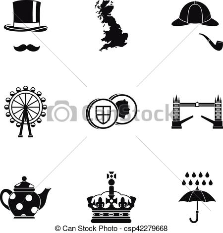 450x470 Holiday In United Kingdom Icons Set, Simple Style. Holiday In