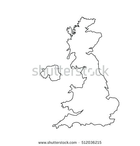 450x470 Raster Illustration Map Outline Drawing Stock United Kingdom