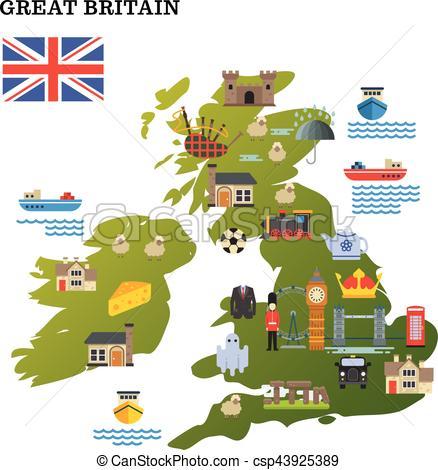 438x470 United Kingdom Travel Map With Landmark Icons Vector Illustration