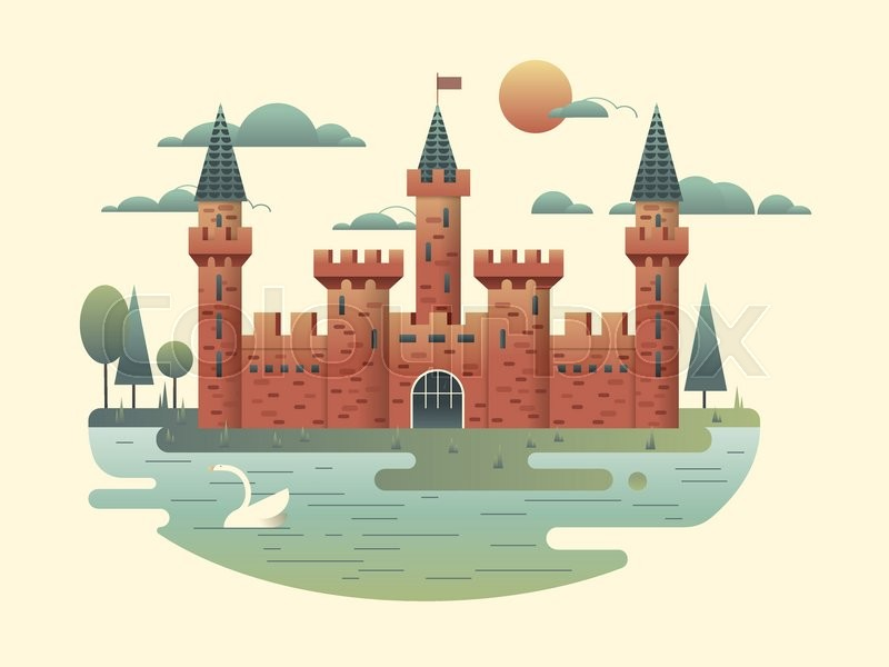 800x600 Castle Design Flat. Building Medieval With Tower, Fortress