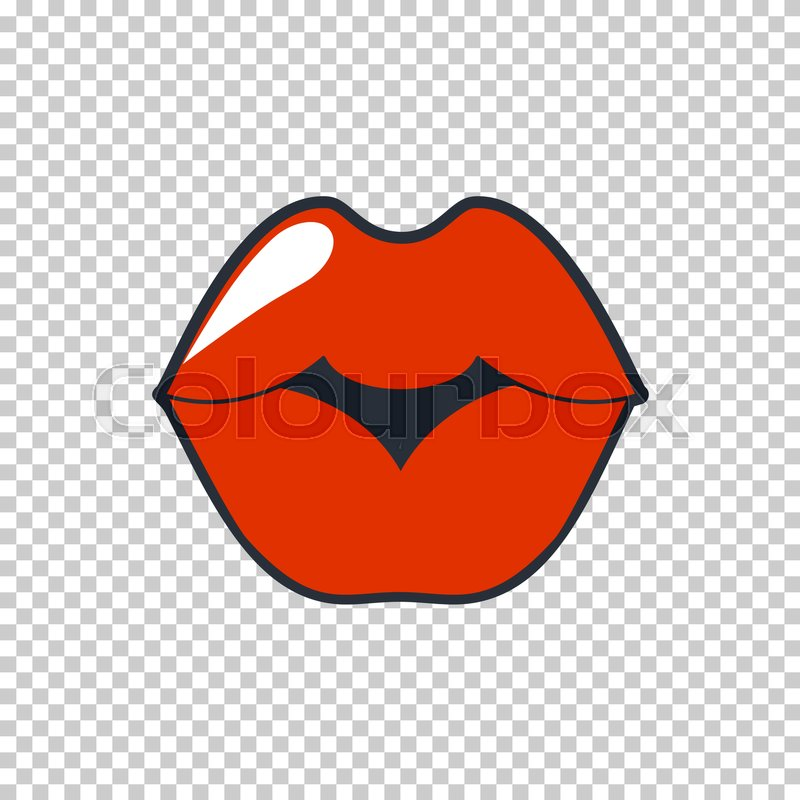 800x800 Lips Quirky Kiss. Vector Patch, Sticker Isolated On A Transparent