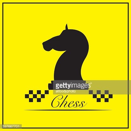 416x416 The Knight Chess Piece On Yellow Background Vector Illustration
