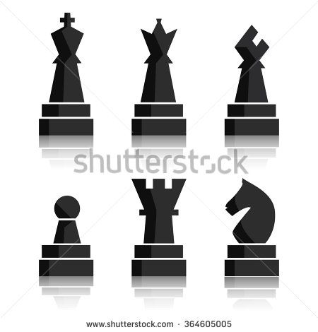 450x470 Black Chess Icons Set. Chess Board Figures. Vector Illustration