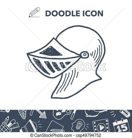 450x470 Knight Helmet Doodle Clipart Vector