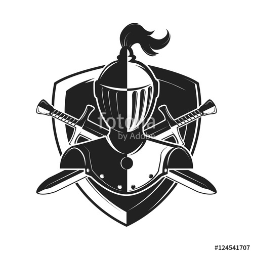 500x500 Knight Helmet With Two Swords And Shield Isolated On White Backg