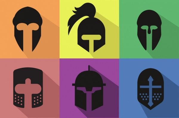 600x397 Knight Helmets Icons Flat Black Design Free Vector In Adobe