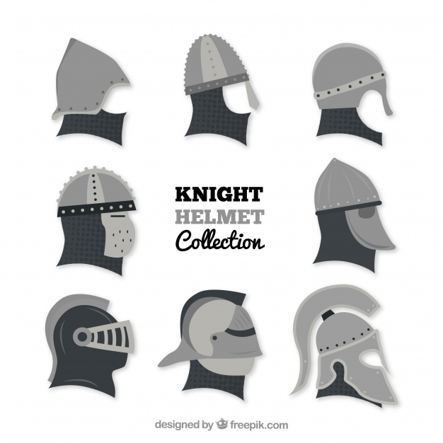 626x626 Flat Knight Helmet Collection Vector Free Download