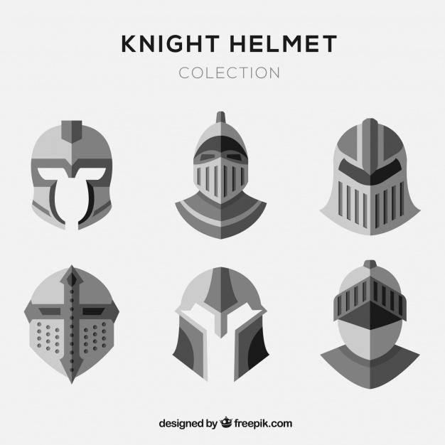 626x626 Set Of Flat Knight Helmets Vector Free Download