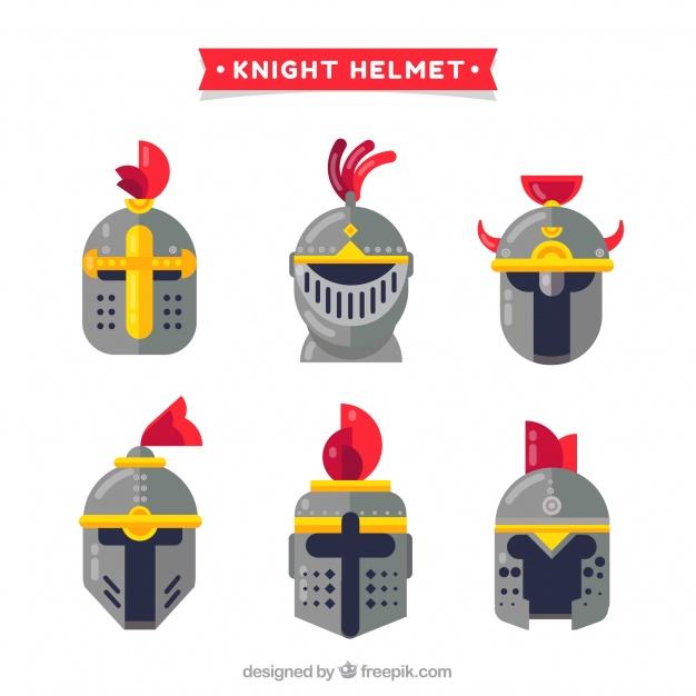 626x626 Set Of Six Knight Helmets In Flat Design Vector Free Download