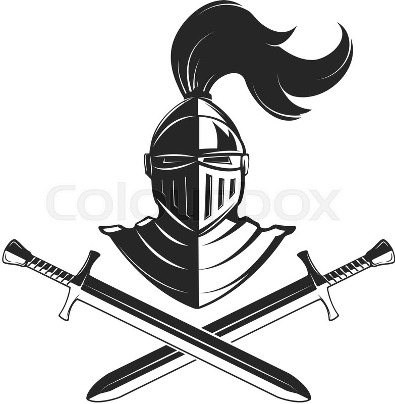 783x800 Knight Helmet With Two Swords Isolated On White Background. Design