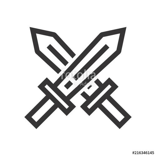 500x500 Sword Logo. Knight Icon. Warrior Symbol. Vector Eps 08. Stock