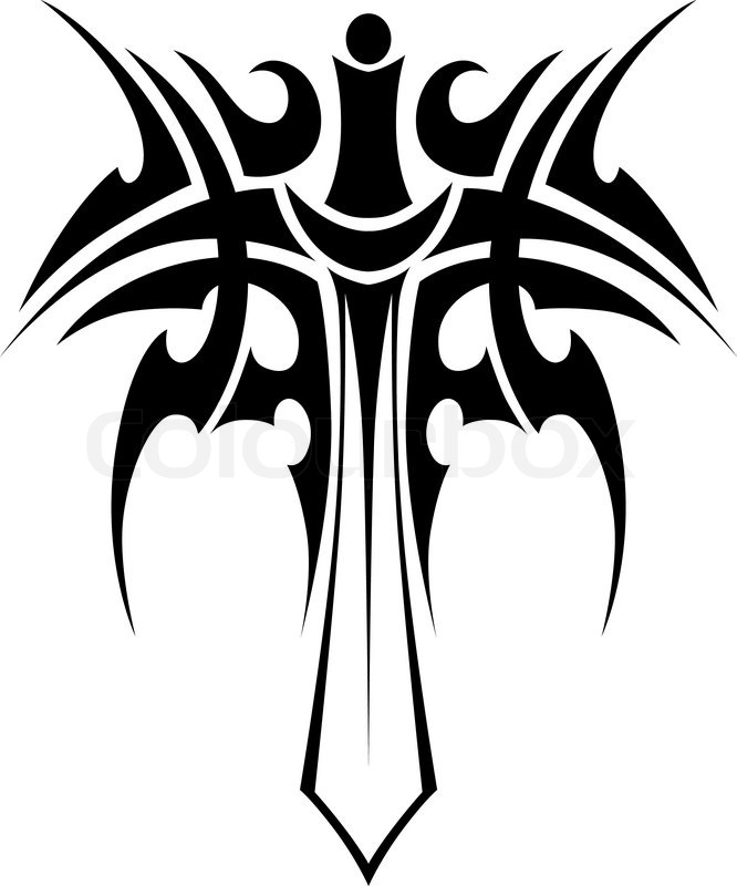 666x800 Tribal Tattoo With Knight Sword Isolated On White Background For