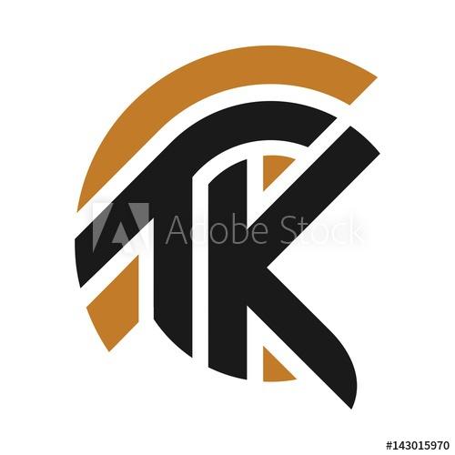 500x500 Letter Logo Vector. T And K Logo. Helmet Of Knight Logo.
