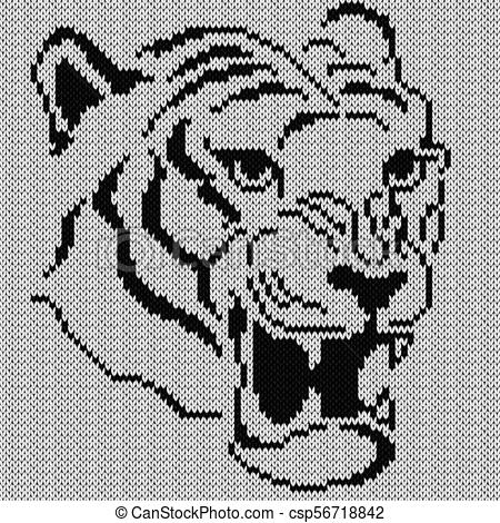 450x470 Angry Tiger Knitting Portrait. Angry Tiger Portrait, Knitting