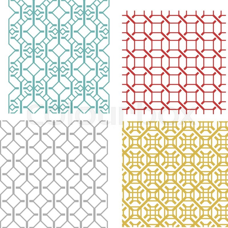 798x800 Set Of Geometric Seamless Weave Line Pattern And Texture In Modern