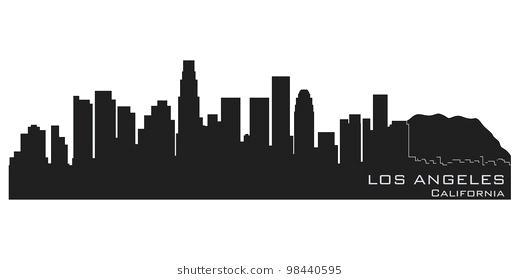 520x280 Los Angeles Skyline Silhouette Skyline Detailed Vector Silhouette