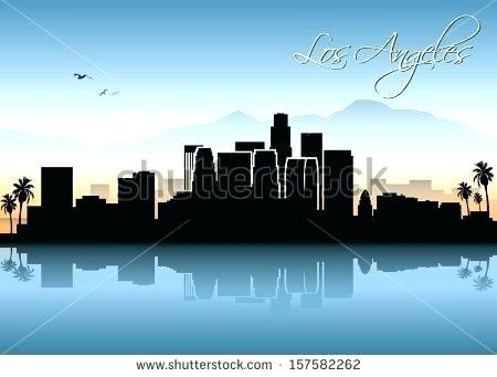 450x341 Los Angeles Skyline Silhouette Skyline Silhouette Details About