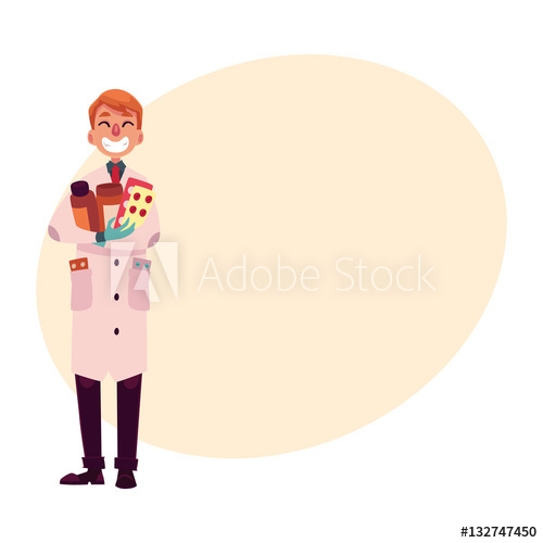 500x500 Funny Pharmacist In Lab Coat And Rubber Gloves Holding Many Pills