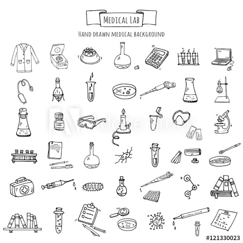 500x500 Hand Drawn Doodle Medical Laboratory Icons Set. Vector