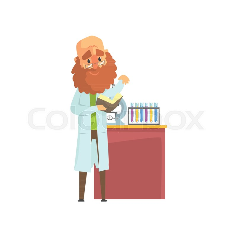 800x800 Bearded Scientist Man In Lab Coat Standing With Book In Hands