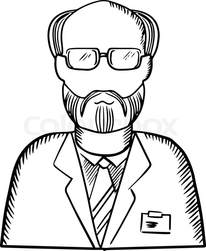 657x800 Scientist Sketch With Bearded Senior In Glasses And Lab Coat With